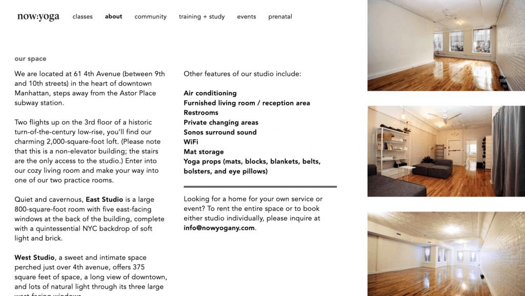 now yoga brooklyn web design bushwick design